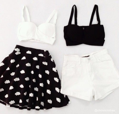 Tumblr outfit, we heart it, black and white, casual, skirt clouds, white shorts