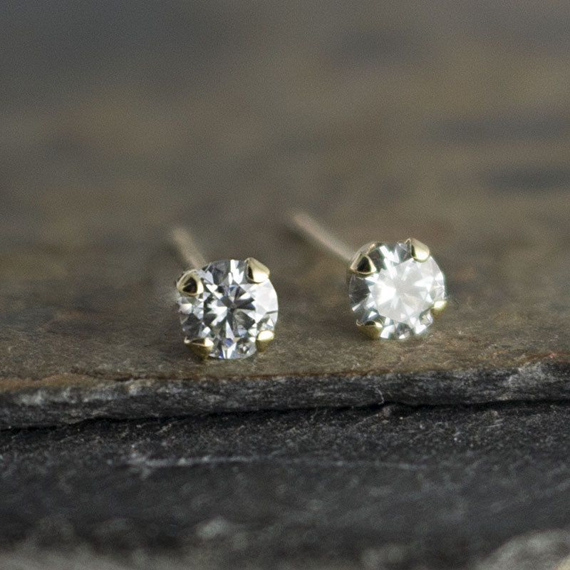 Tiny Moissanite Diamond Earrings 3mm Small Solid Gold Stud Post Stone By Futureartjewelry On Etsy