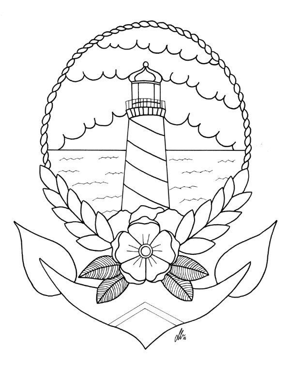 Lighthouse Tattoo Colouring Reference Page Digital Download