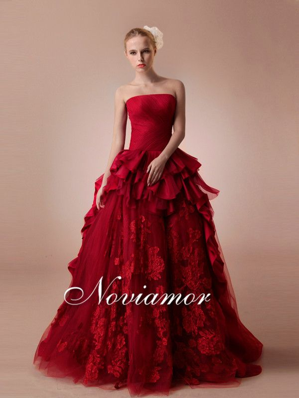 Robe bustier rouge bordeaux