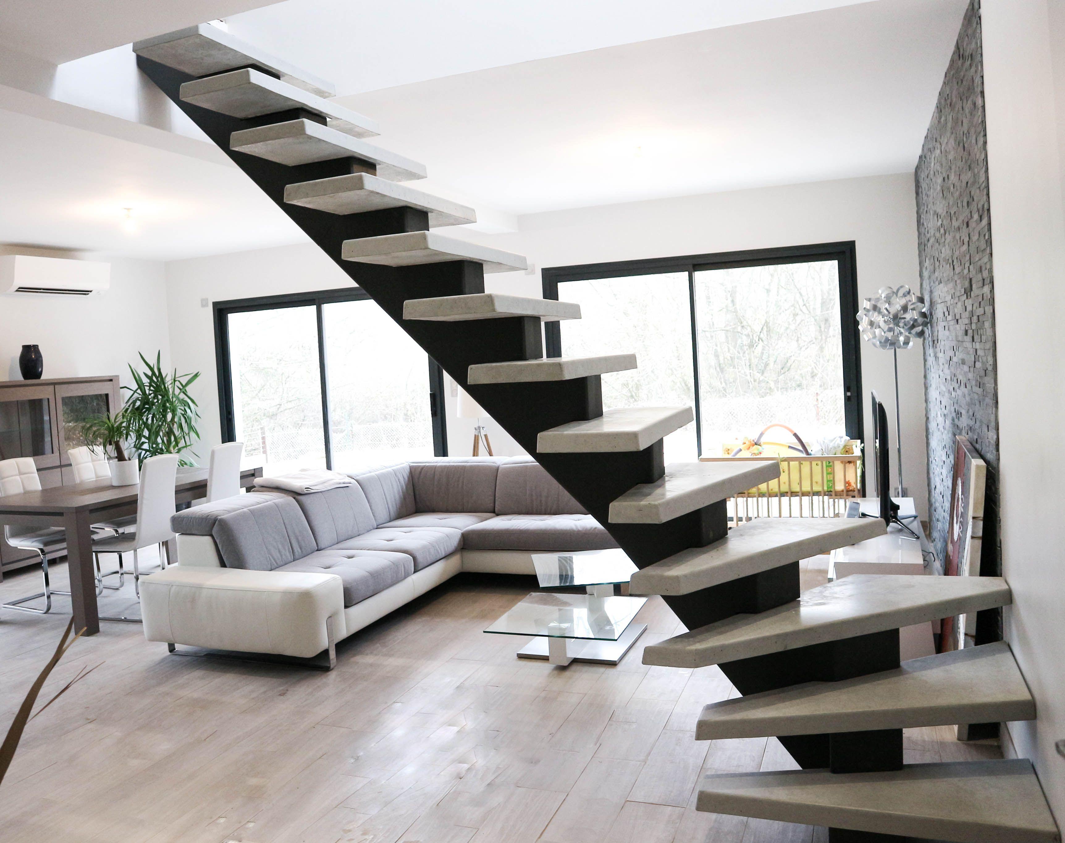 Escalier Interieur Beton Design manhattan escalier soloft crémaillère métal, marche béton