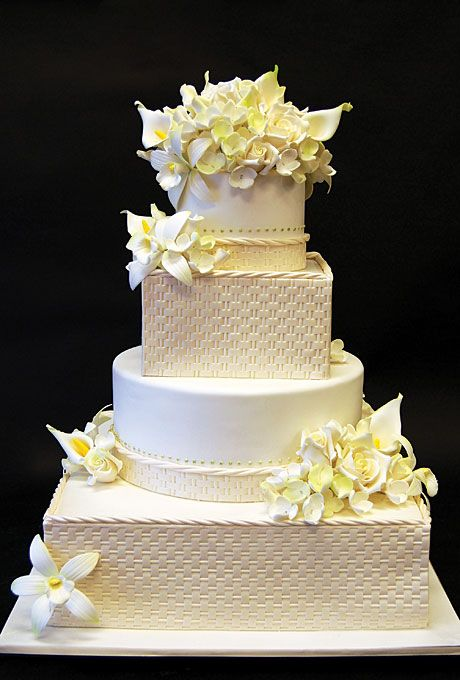 Brides.com: Outstanding Wedding Cake Designs. Pink Cake Box, Denville, NJ $16 per slice, 185 servings