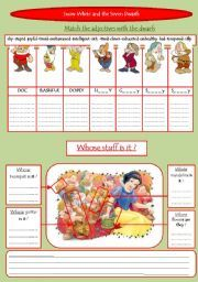 English worksheet: Snow White and the seven dwarfs ...
