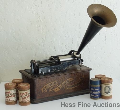 Antique Thomas Edison Home Phonograph Record Player W Wax Cylinder Records ThomasEdison