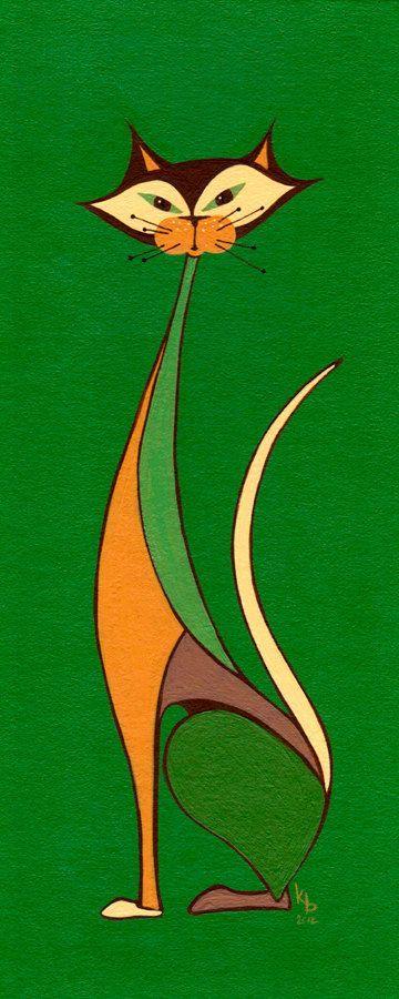 cat art print mid century modern art giclee art print cat chat modern 4x10 original cat lover cat wall art kitty cat print danish modern is part of Cat art print - Cat Art Print  Mid Century Modern Art Giclee Art Print Cat Chat Modern 4x10 Original Cat Lover Cat Wall Art Kitty Cat Print Danish Modern Modernart Green