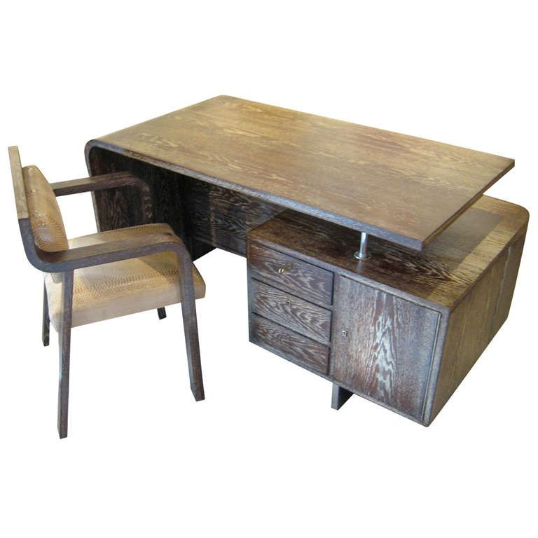 Art Moderne Cerused Oak Waterfall Desk With Matching Chair Circa