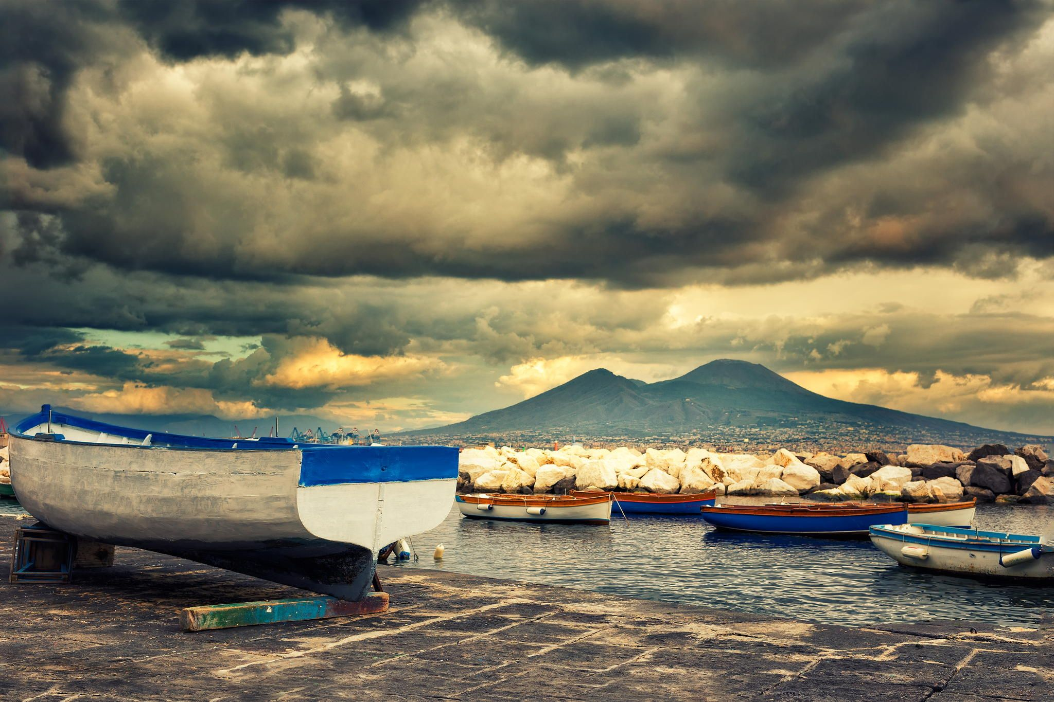 A famous view of Vesuvius volcano from Caracciolo Seafront in Naples by Giorgio Galano