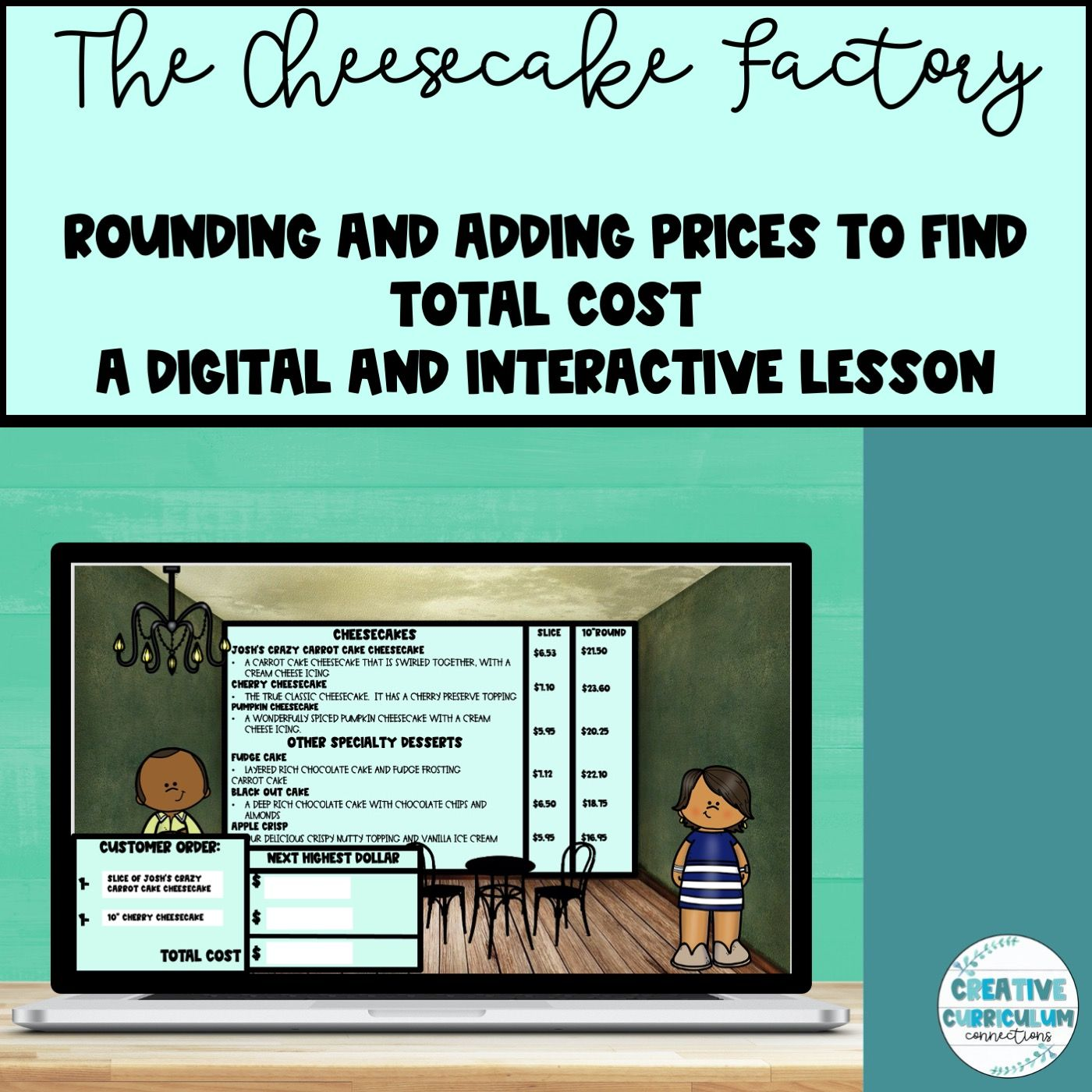 Cheesecake Factory Rounding And Adding Two Prices For Total Cost Digital Lesson Digital Lessons Interactive Lessons Lesson How to price addition