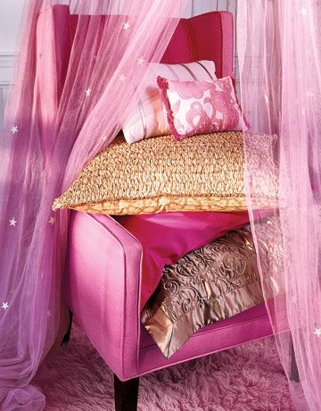 Wing Chair A boudoir sham adds unusual luxury to a simple chair ...