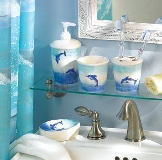 Dolphin Shower Curtain And Bath Accessories Bathroom
