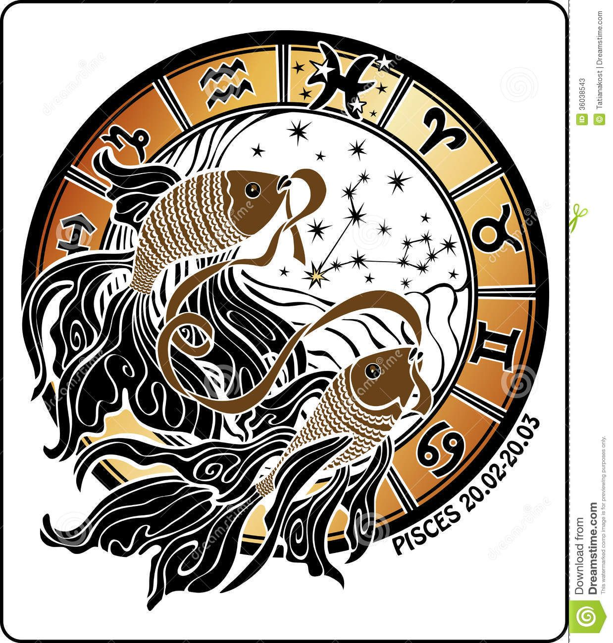 Pisces and the zodiac signhoroscope circlector art two gold fish hold mouth tape behind them are symbols of all zodiac signs horoscope circle on a white background buycottarizona