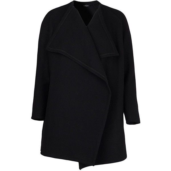 "Black Wool Cardigan With Waterfall Front ""Michelle"" ($199 ..."