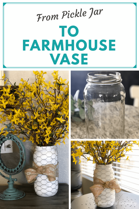 Extra large pickle jar turned DIY farmhouse vase -