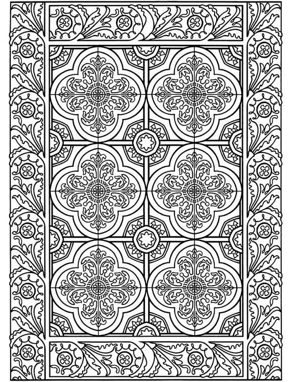 Decorative Tile Patterns Coloring Page From Decorative Tile Designs Dover Pubweekly