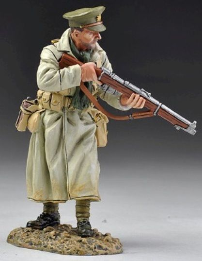 World War 1 British Army GW034A Officer in Trench Coat with Rifle ...