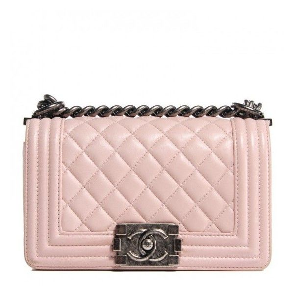 0b336c5f1e1f CHANEL Lambskin Quilted Small Boy Flap Light Pink ❤ liked on Polyvore  featuring bags, handbags, structured handbag, kiss-lock handbags, chanel  handbags, ...