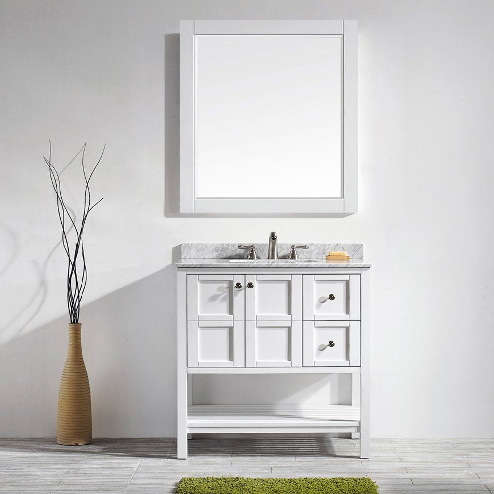 "Beachcrest Home Caldwell 36"" Single Vanity Set With Mirror Delectable Bathroom Cabinet Reviews 2018"