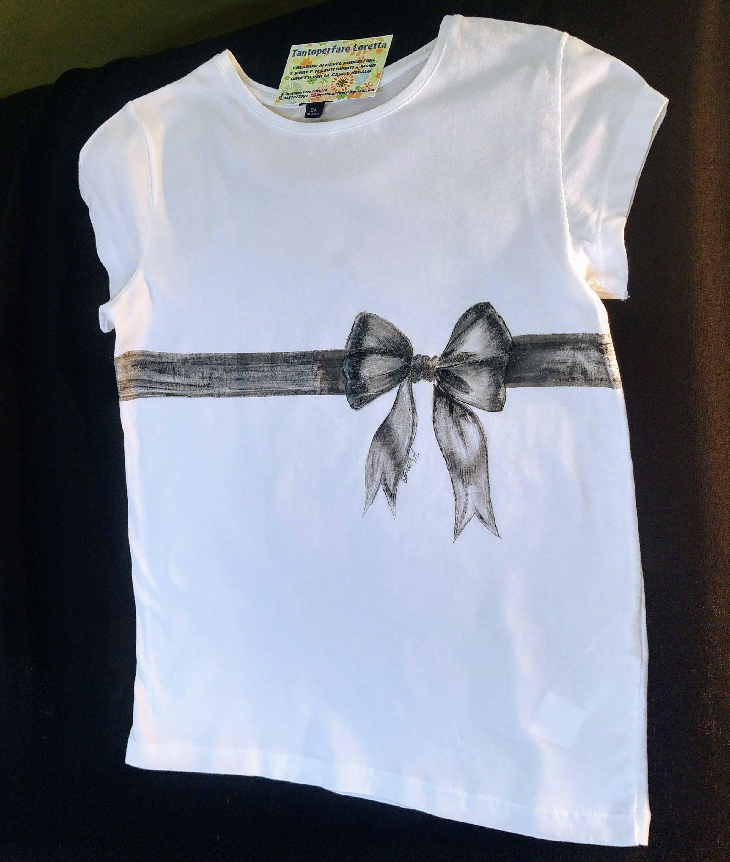 Elegante Con Nero Fiocco Stile Parigino Maglietta Shirt T Donna rdCoBxe