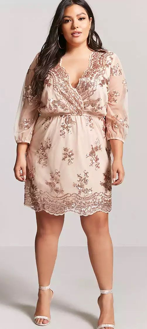 Plus Size Rose Gold Sequin Dress - Plus Size Party Dress ...