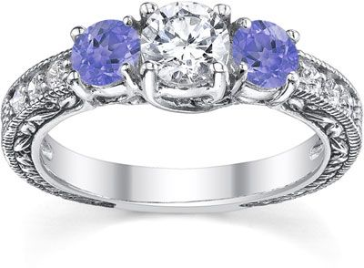 cybermonday check out this antique style tanzanite and diamond engagement ring http - Tanzanite Wedding Rings