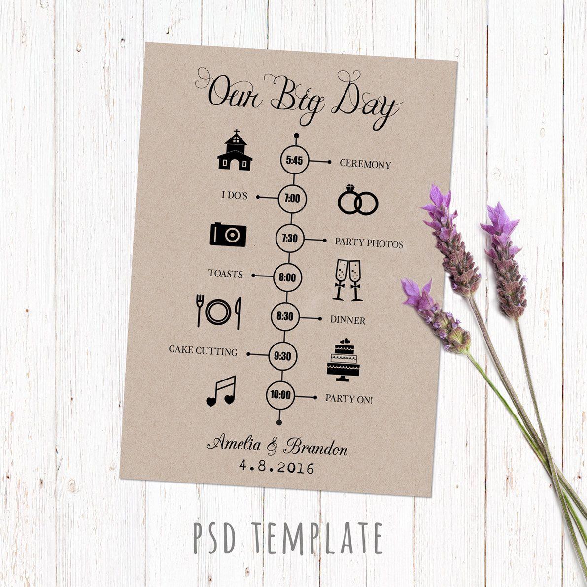 Wedding timeline template card. Digital printable timeline card ...