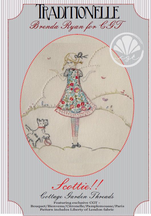 Adorable embroidery pattern, free shipping when you Pre-Order, Scottie Embroidery Patter, Cottage Garden Threads, Brenda Ryan, Liberty of London Fabric