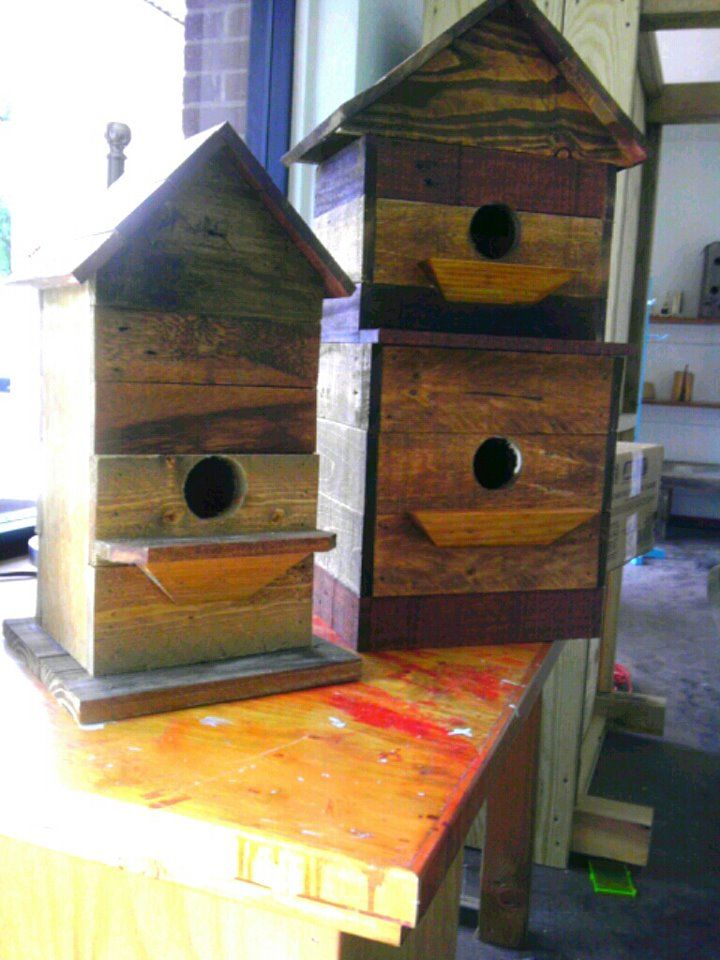Birdhouses built from recycled loading pallets by a lovely