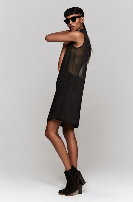 Checklist: Stephanie Hulme's sheer sleeveless dress is the perfect combo of hide and seek.