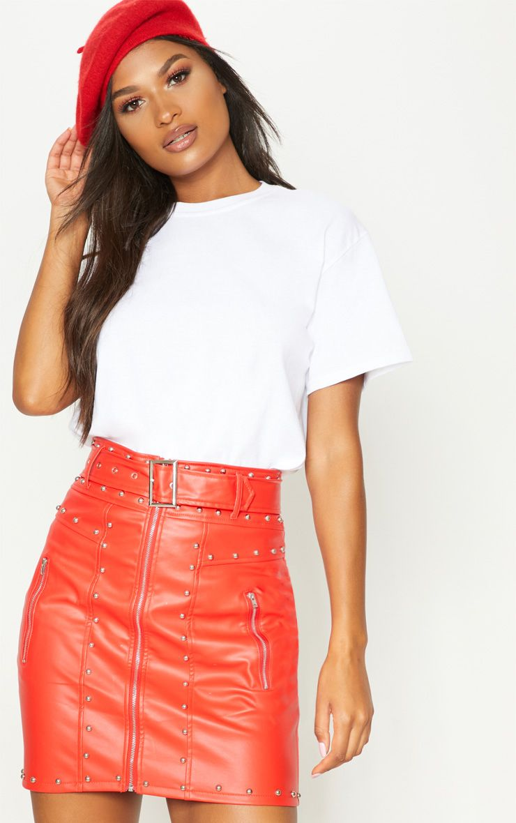 browse latest collections 2019 discount sale terrific value Red Faux Leather Stud Detail Belted Mini Skirt | Products in ...