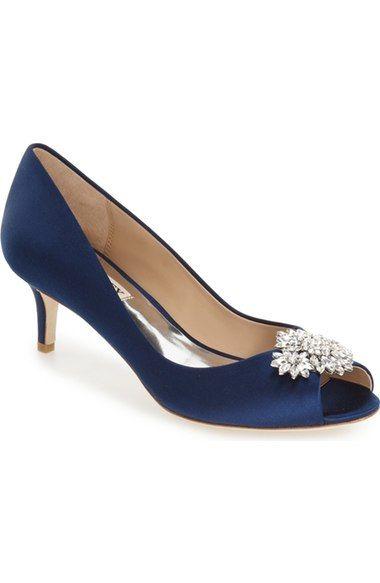 Nakita Kitten Heel Peep Toe Pump Women In Navy Satin With Images Navy Wedding Shoes Kitten Heels Wedding Womens Wedding Shoes