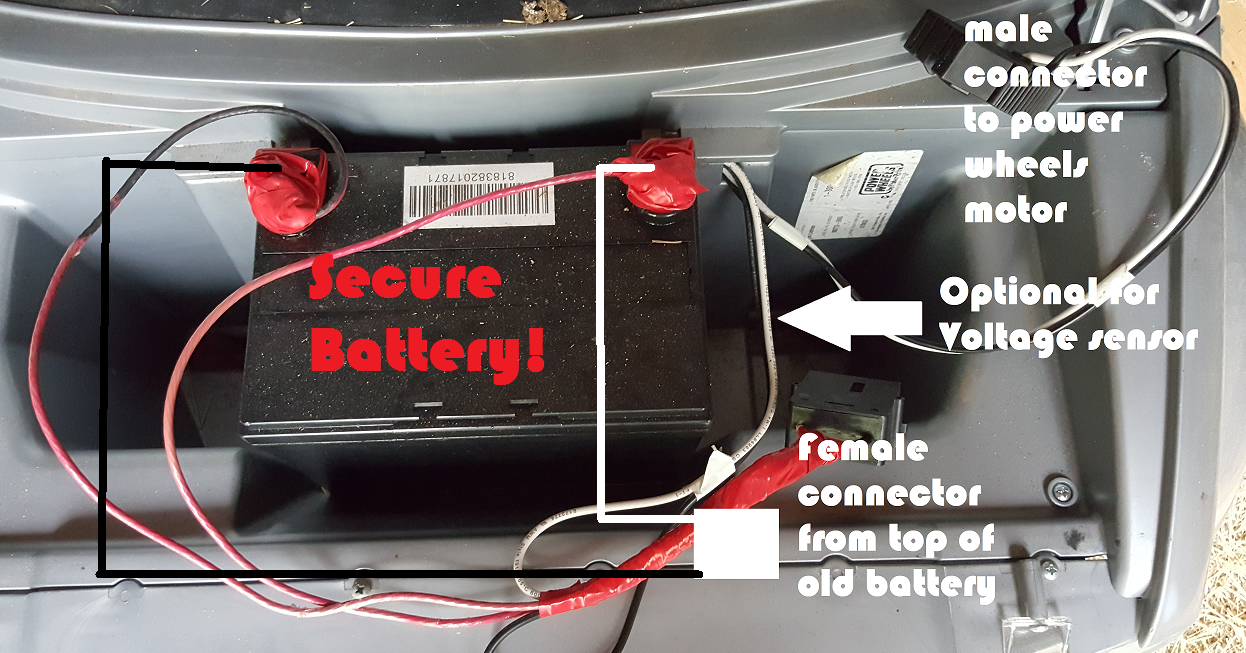 Always Secure The Battery Power Wheels Power Wheels Modified