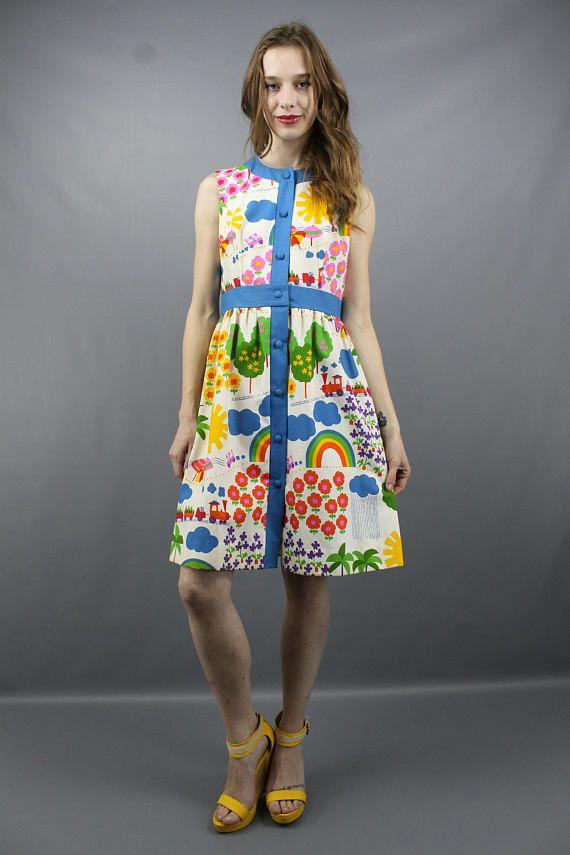 6d3d3789d45 Vintage 60s 70s Malia Honolulu Novelty Print Rainbow + Sunshine Summer  Vacation Dress Sundress
