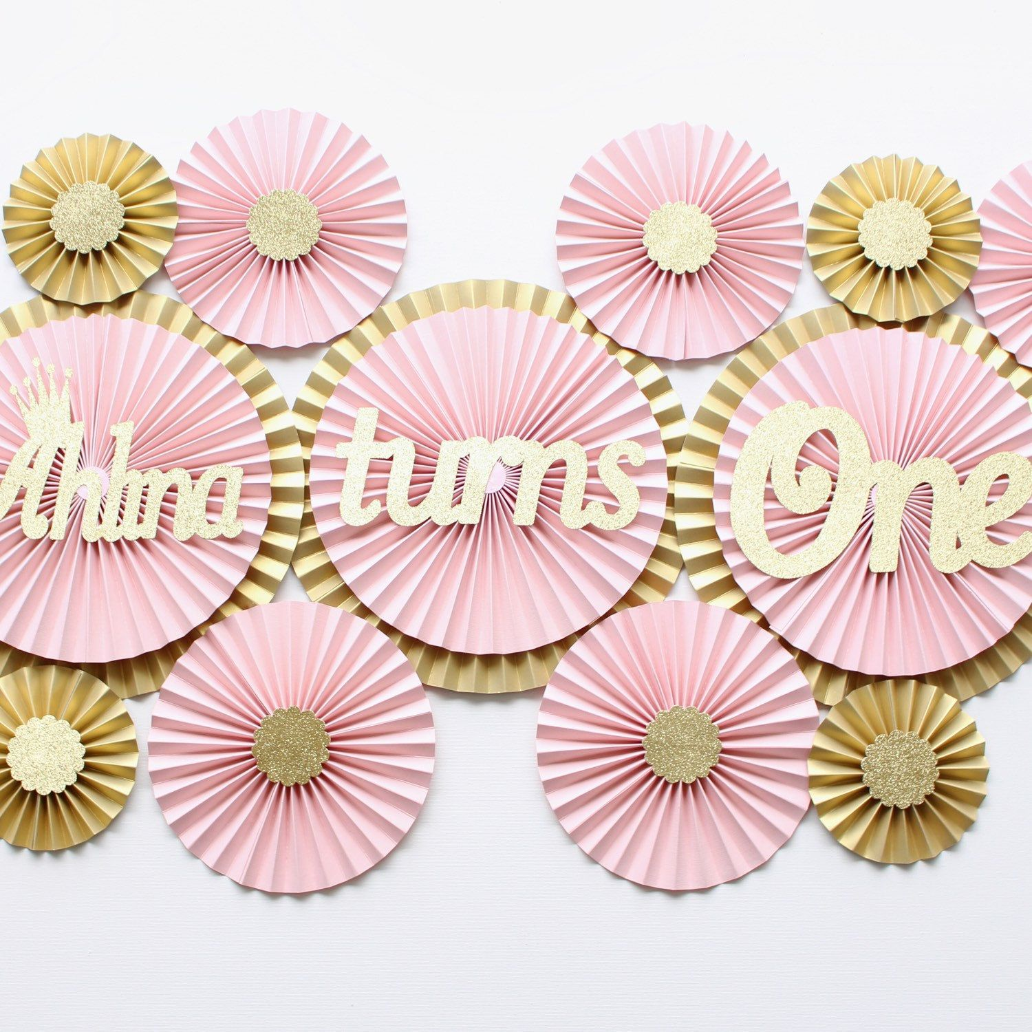 First birthday decorations, blush decorations, blush pink paper fan backdrop,  paper rosettes,