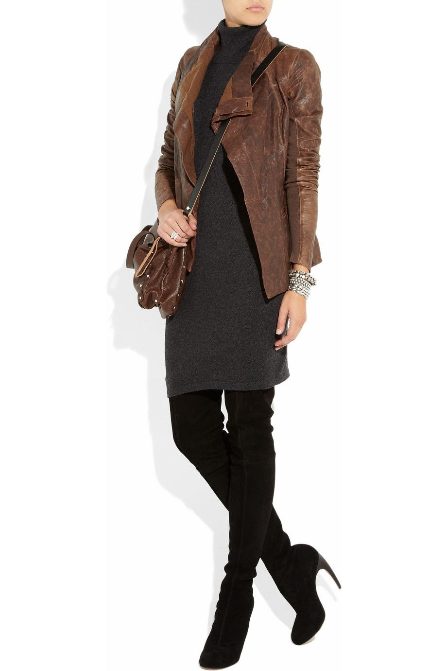 simple dress looking hot with a brown leather jacket and over the knee boots.