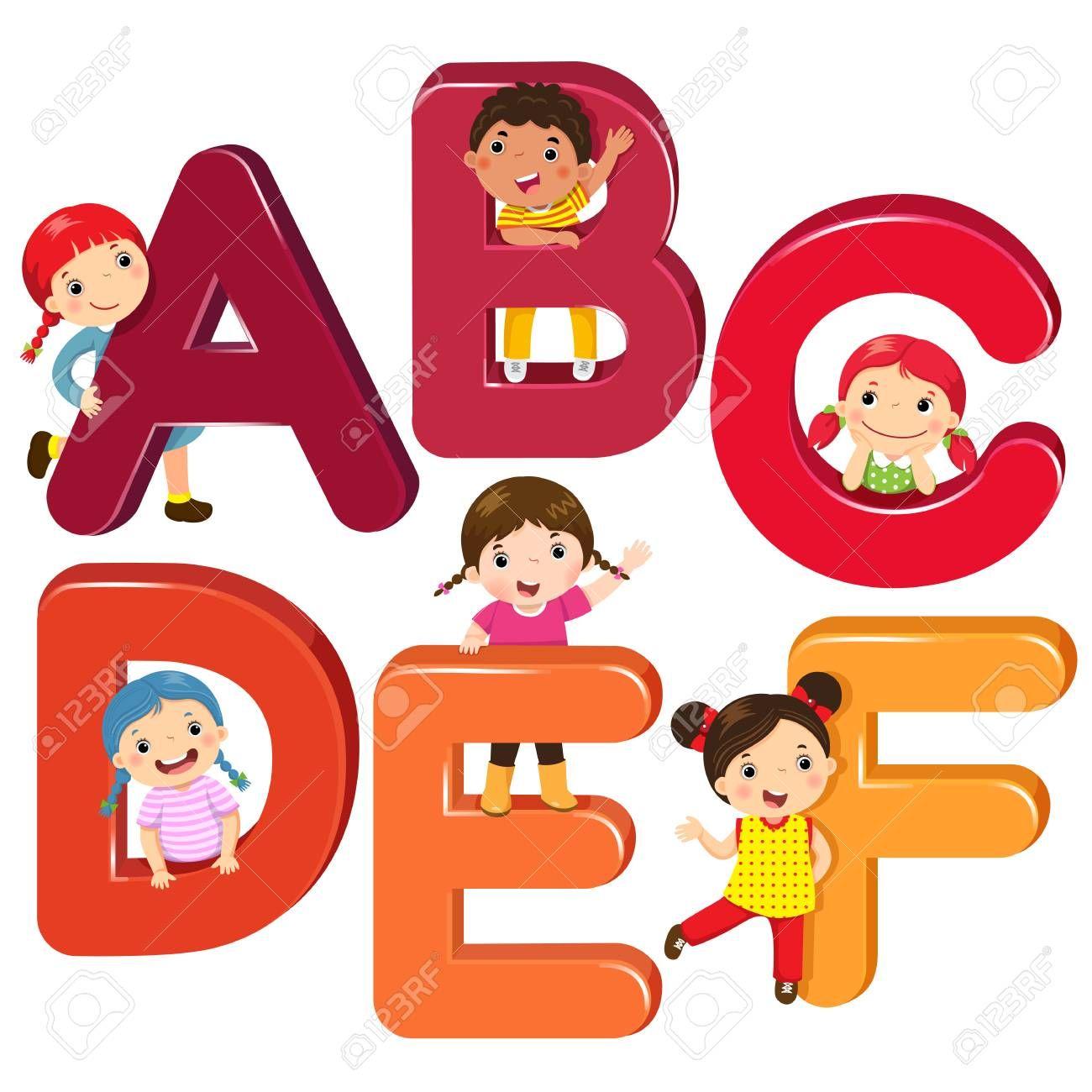 Ninos De Dibujos Animados Con Letras Abcdef Ilustraciones Vectoriales Clip Art Vectorizado Lib Caricaturas De Ninos Ninos Dibujos Animados Abecedario Infantil