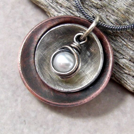 Necklace Mixed Metal Disc Freshwater Pearl Copper Sterling. $43.00, via Etsy.