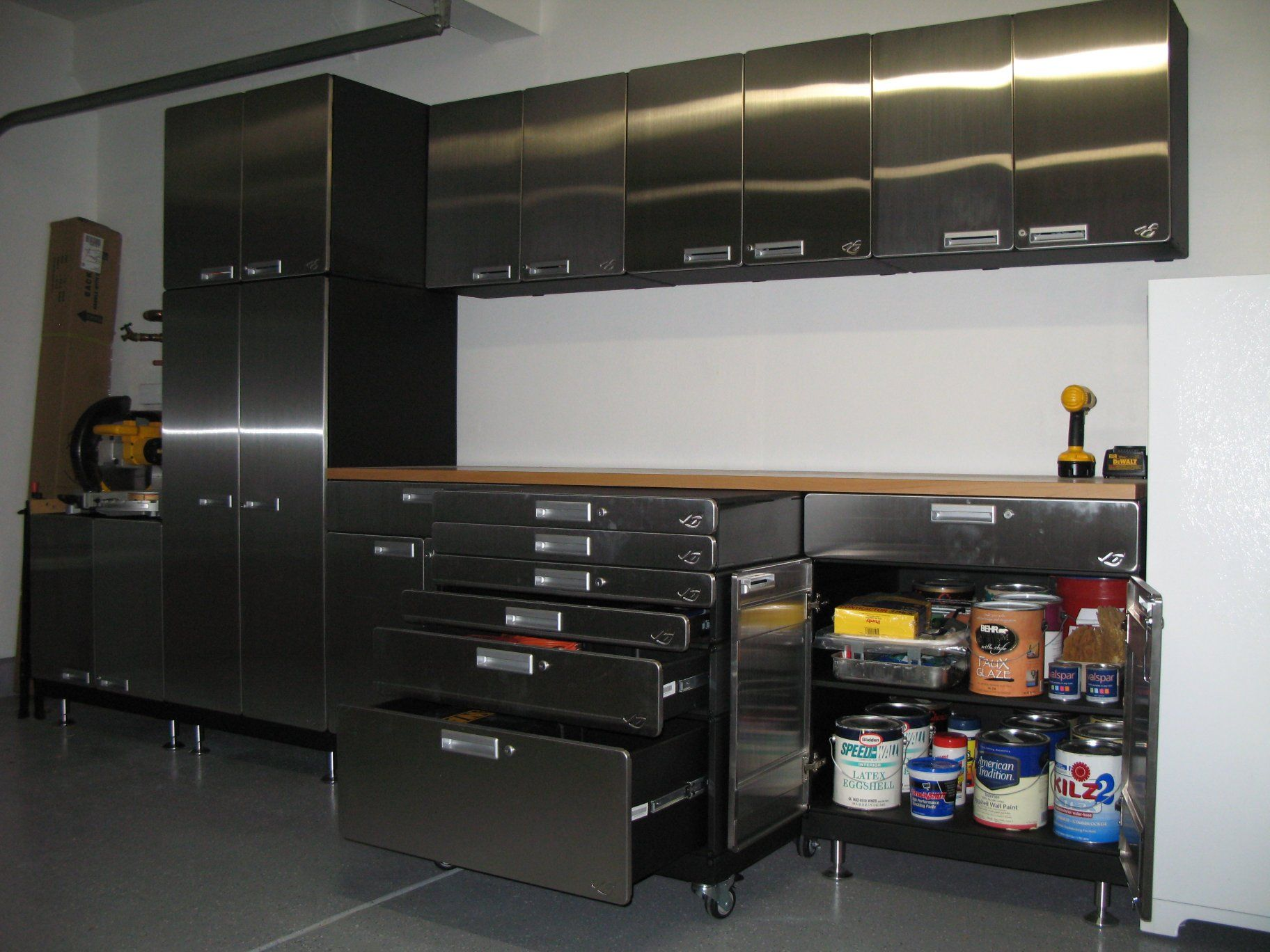 Beau Hercke Stainless Steel Garage Cabinets. Modular Stackable Systems For A  Custom Set Up.