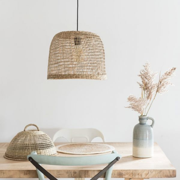 Non-Electric White Basketwork Pendant Light BARBADE in ... on Decorative Wall Sconces Non Electric Lights For Closets id=97874