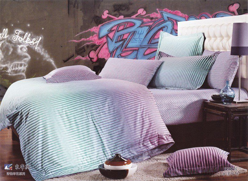 New Beautiful 100% Cotton 4pc Doona Duvet QUILT Cover Set bedding set Full / Queen/  King size 4pcs light blue purple striped