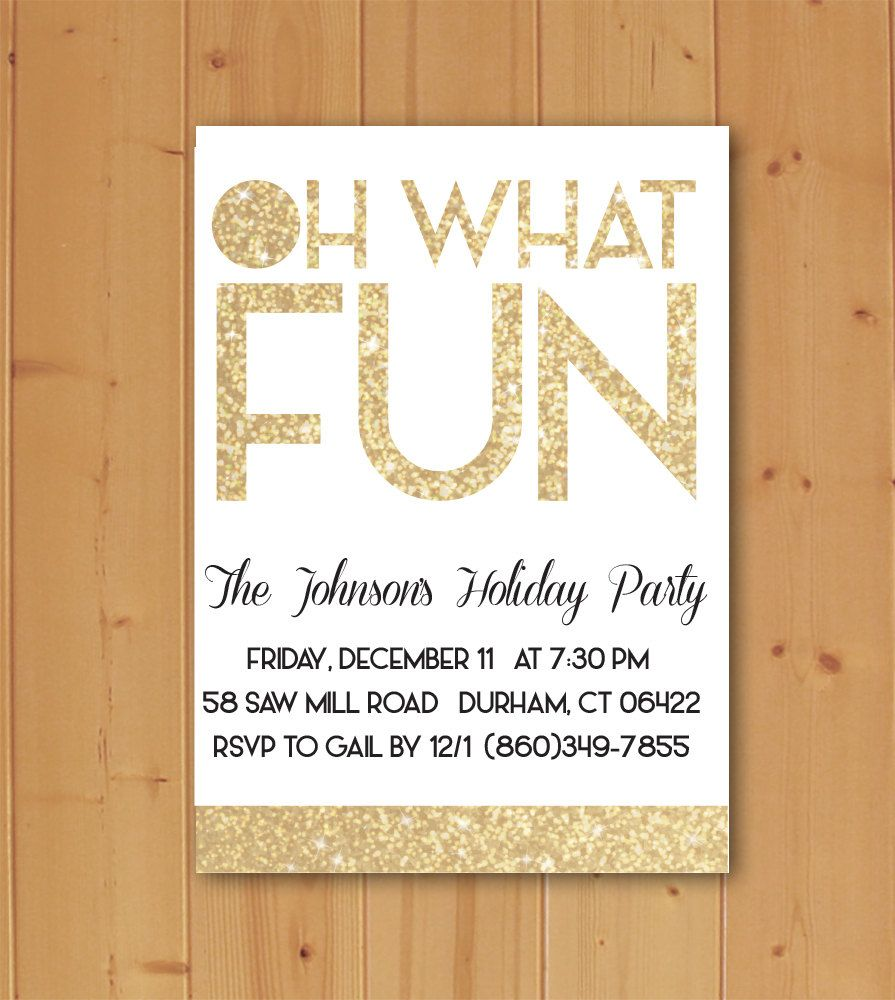 Oh what Fun Invitation, Oh What Fun, Holiday Party Invitation, Christmas Party Invitation, Winter Party Invitation, Glitter Party Invitation by JMCustomInvites on Etsy