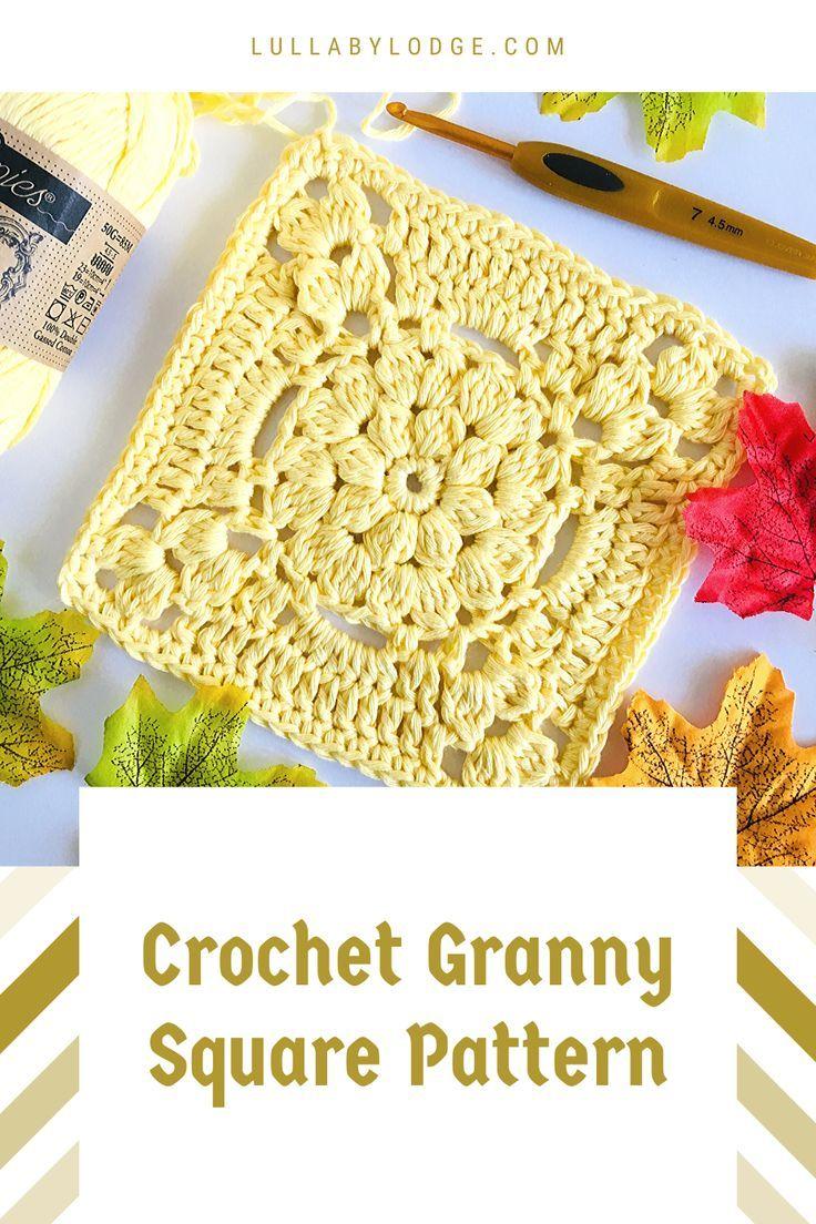 Pretty Floral Granny Square Pattern