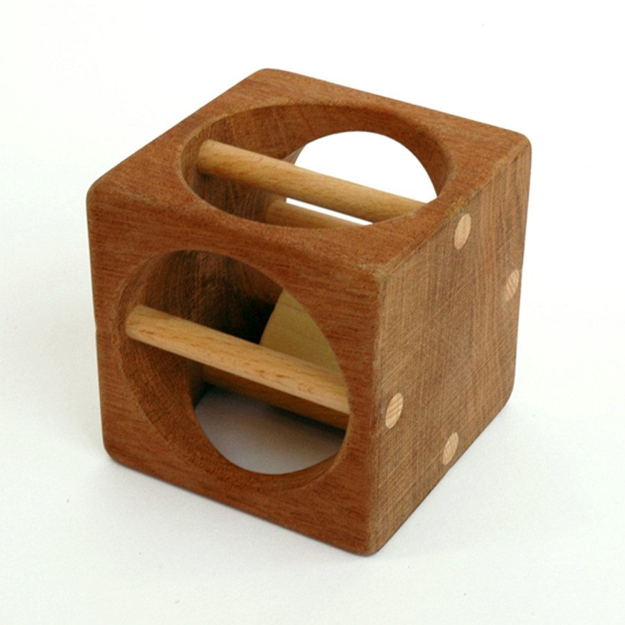 wooden rattle block - baby teething toy | design ideas