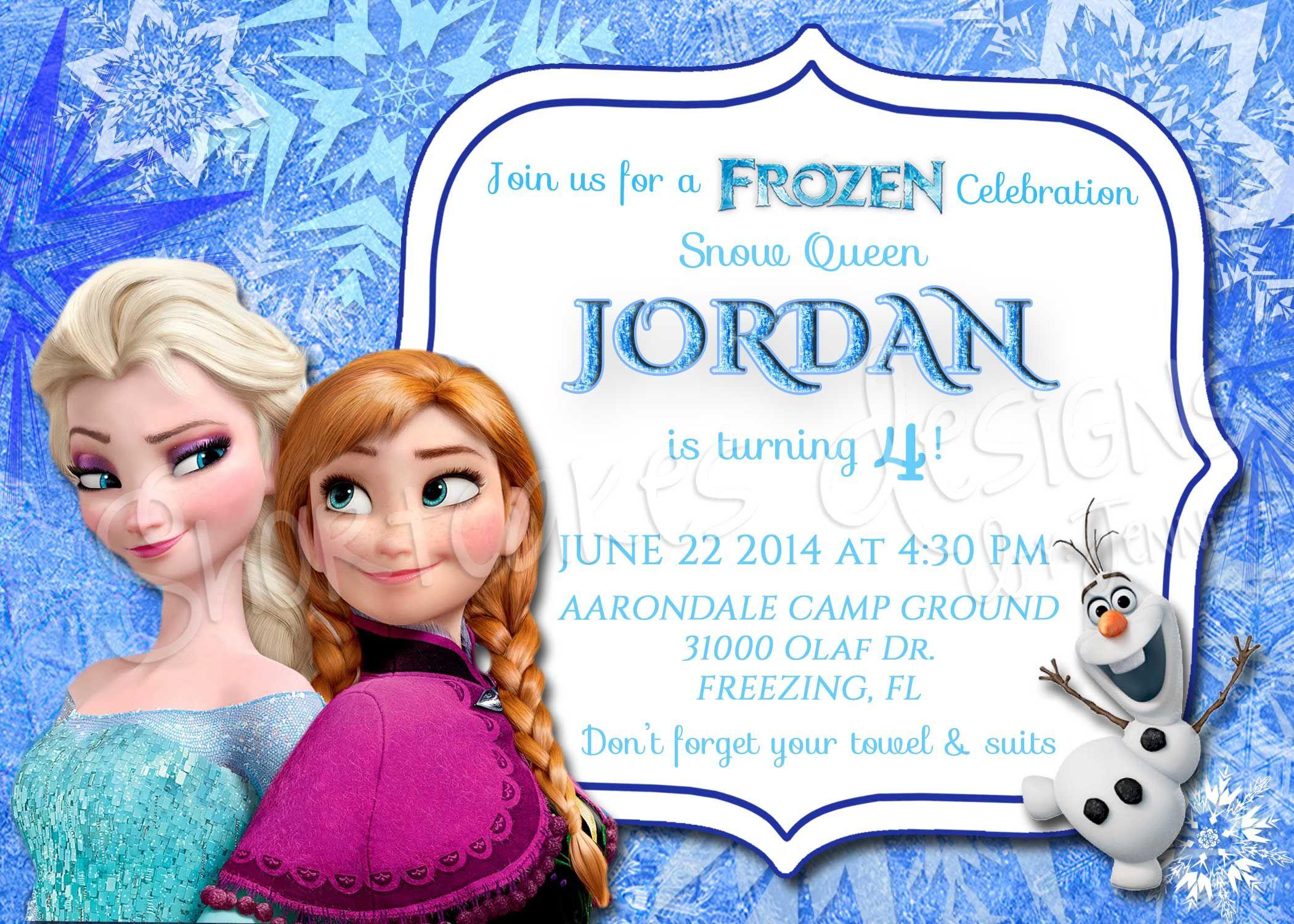 Frozen sisters Olaf invitation Birthday Fun Character Birthday