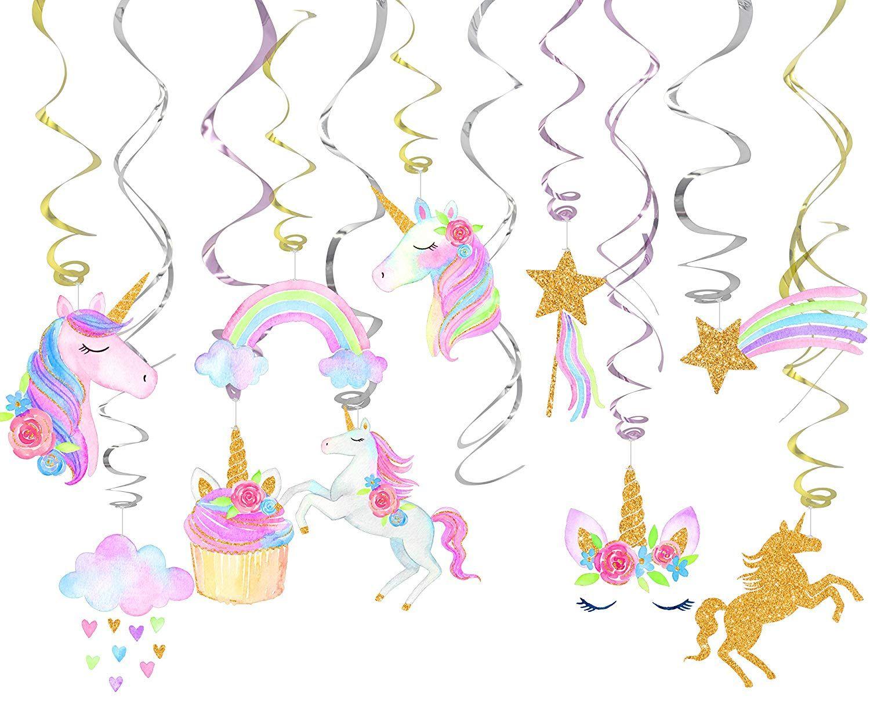 30 Piece Unicorn Hanging Swirl Decorations Unicorn Party Decorations Unicorn Theme Party Unicorn Party Supplies Rainbow Unicorn Party