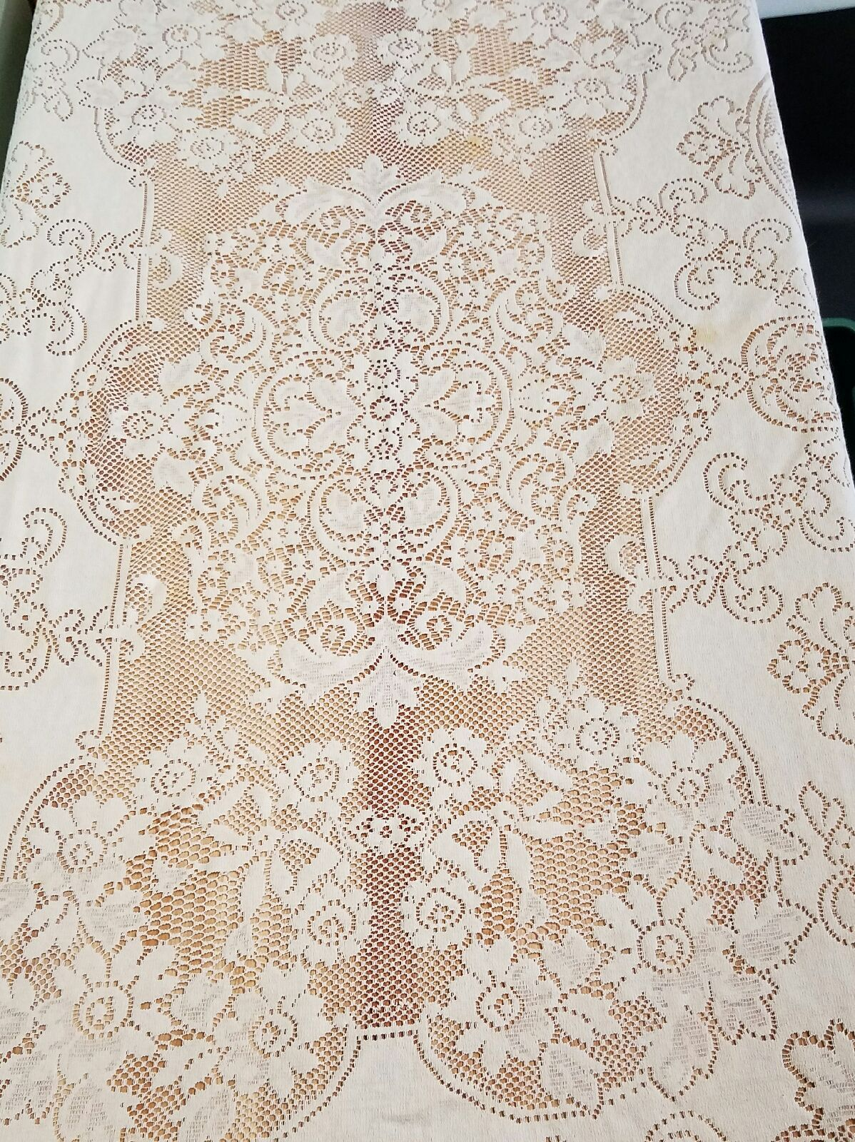 Vintage Off White Cotton Lace 54x70 Tablecloth Made in USA Use Repurpose VL Lovely cloth has some staining.  Made in USA.  I have not tried to treat the stains.  Use or repurpose.   See photos for actual condition.   https://nemb.ly/p/B1QIQ0Kje Happily published via Nembol