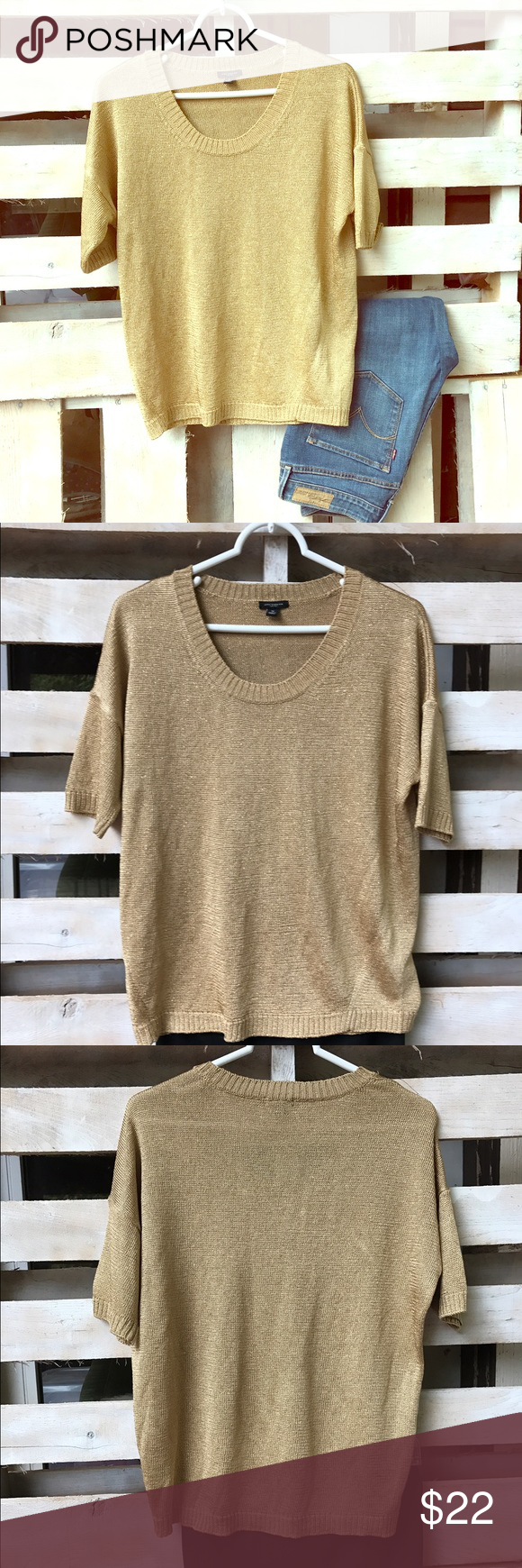 Ann Taylor gold short sleeve sweater | Gold shorts, Metallic and ...