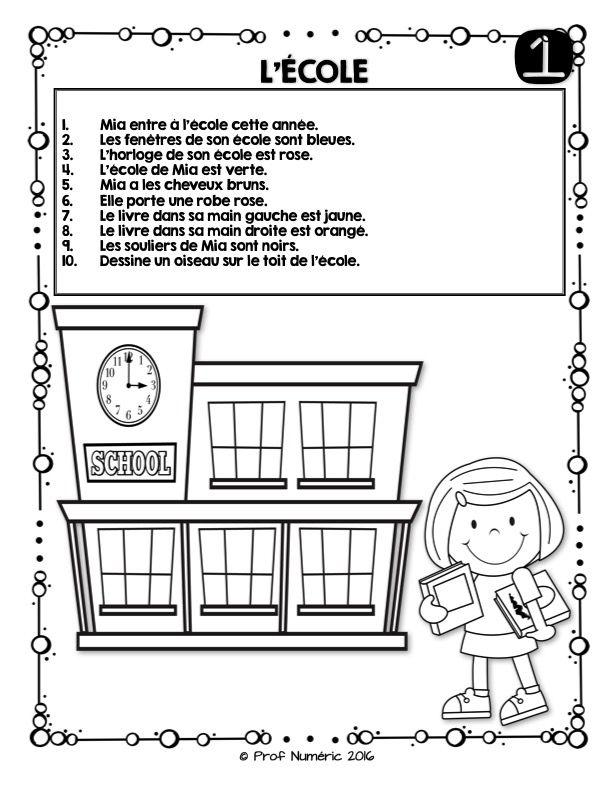 Thème L 'ÉCOLE - 10 Petites histoires/énoncés simples à lire pour vos jeunes lecteurs débutants. - Les 10 courts énoncés/histoires peuvent être dessinés sur le IPAD ou être imprimés en version PAPIER également