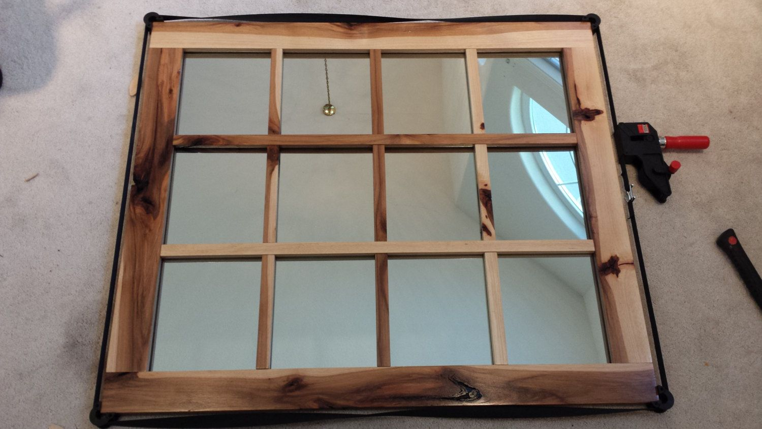 Rustic Hickory Mirror by SKcustomWoodwork on Etsy, $299.00