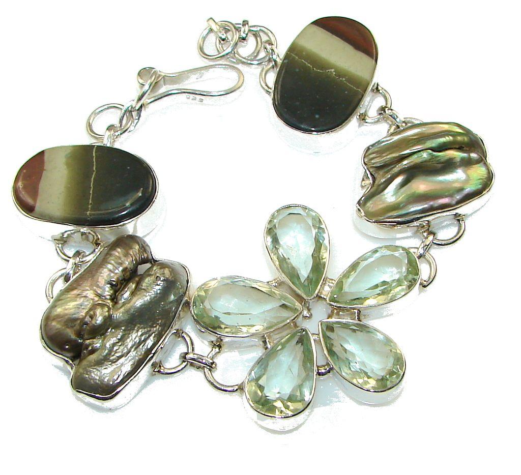 Silverrushstyle precious design green amethyst sterling
