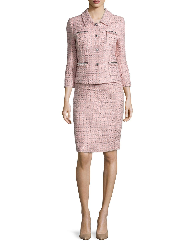 68344d807c Three-Quarter Sleeve Tweed Skirt Suit, Pink/Black, Women's, Size: 4 - Tahari